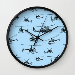 Helicopters on Sky Blue Wall Clock
