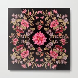 pink folk floral on black background Metal Print