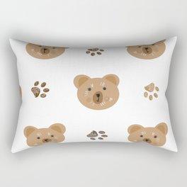 Brown doodle paw print and teddy bear Rectangular Pillow