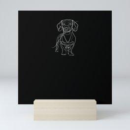 Dachshund - One Line Drawing Mini Art Print