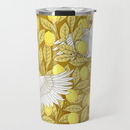 Vintage Pattern, Lemons and Birds, 1897 Travel Mug