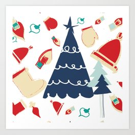 Christmas tree blue Art Print