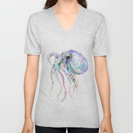 Octopus soft gray violet, turquoise soft colored octopus design beautiful octopus decor Unisex V-Neck