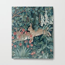 William Morris Forest Rabbits and Foxglove Greenery Metal Print