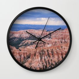 Sunset over Hoodoos - Bryce Canyon National Park, Rocky Natural Landscape, Utah Hiking Photography Wall Clock