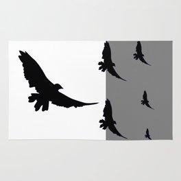 FLYING BLACK CROWS GREY-BLACK ART Rug