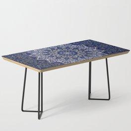 N33 - Blue Andalusian Bohemian Moroccan Mandala Artwork. Coffee Table