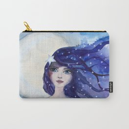 Watercolor Girl Moon and Stars Carry-All Pouch