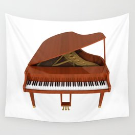 Grand Piano with Wood Finish Wall Tapestry