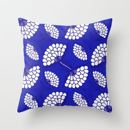 African Floral Motif on Royal Blue Throw Pillow