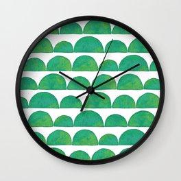 Green Ink Wash Semi Circles Wall Clock