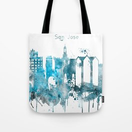 San Jose Monochrome Blue Skyline Tote Bag