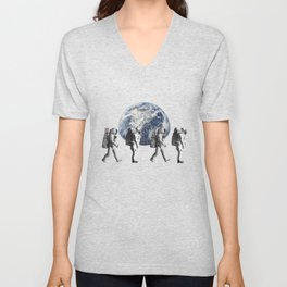 Funny Astronauts Crosswalk - Galaxy Space Mission Unisex V-Neck