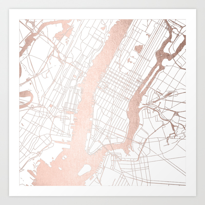 City Map Of New York.New York City White On Rosegold Street Map Art Print