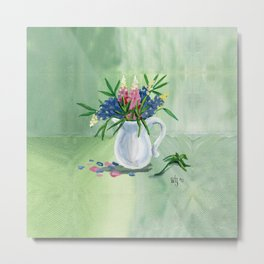 Pitcher of Lupins in Green Metal Print