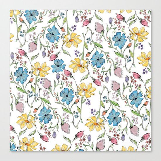 Spring flowers pattern - watercolor Canvas Print