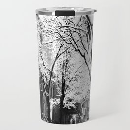 Black and White Photo of the Beautiful Brooklyn Heights covered in icy snow Travel Mug