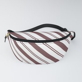 Pantone Red Pear and White Stripes Angled Lines Fanny Pack