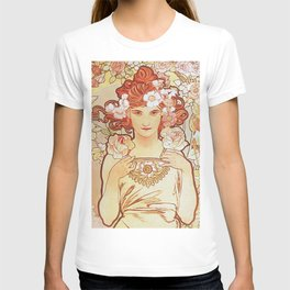 Rose by Alphonse Mucha 1897 // Vintage Girl with Red Hair Floral Love Design T-shirt