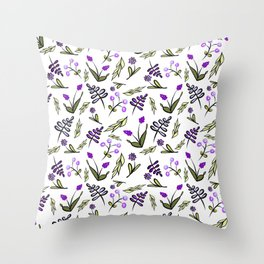 Purple Floral-Waiting for spring Throw Pillow