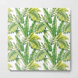 tropical green leaves pattern Metal Print