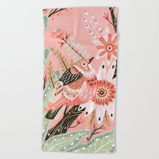 Little Pink Bird Beach Towel