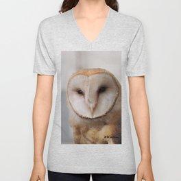 Barn Owl on Alert Unisex V-Neck
