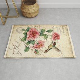 Vintage Roses Print Hummingbird Art Love Quote Rustic Decor Valentine Gift Rug