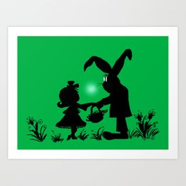 Silhouette Easter Bunny Gift Art Print