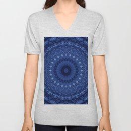 Mandala in deep blue tones Unisex V-Neck