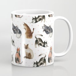 One cat leads to another - watercolor cats and paws pattern Coffee Mug