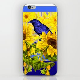 ARTISTIC BLUE CROW SUNFLOWERS CONCEPT iPhone Skin