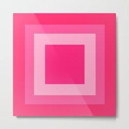 Pink Square Design Metal Print