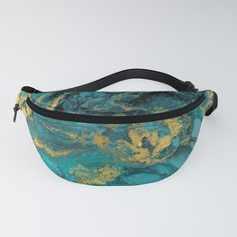 Abstract Pour Painting Liquid Marble Black Blue Teal Painting Gold Accent Fanny Pack