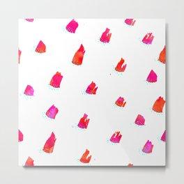 Brush Pattern - Pink Metal Print