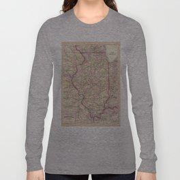 Vintage Map of Illinois (1874)  Long Sleeve T-shirt