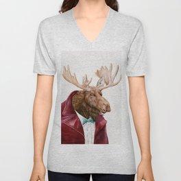 Moose in Maroon Unisex V-Neck