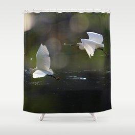 White Herons Flying Shower Curtain