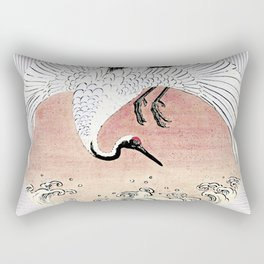 Crane and Wave Rectangular Pillow