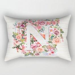 Initial Letter N Watercolor Flower Rectangular Pillow