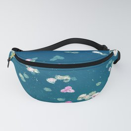 Scattered Flower Petals in Blue Turquoise Pond Fanny Pack
