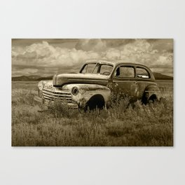 Vintage Ford Automobile Abandoned on the Western Prairie in Sepia Canvas Print