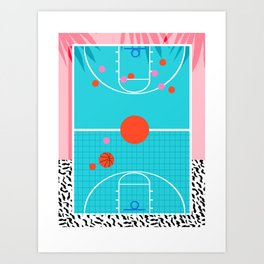Hoops - throwback retro 80s basketball sports athlete neon 1980's memphis style art Art Print
