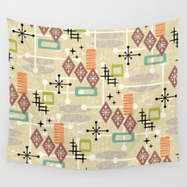 Retro Mid Century Modern Atomic Abstract Pattern 241 Wall Tapestry