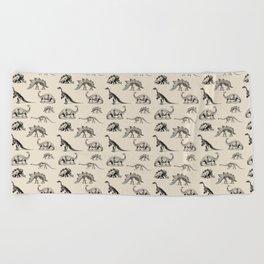 Museum Animals | Dinosaur Skeletons on Cream Beach Towel