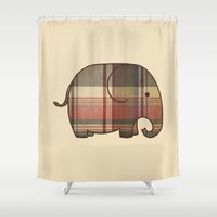 plaid Shower Curtains featuring Plaid Elephant  by Terry Fan