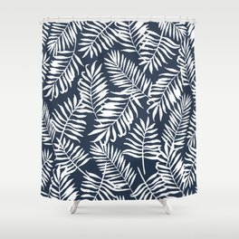 Tropical Palm Leaves - Navy Blue Shower Curtain