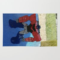 optimus prime Area & Throw Rugs featuring Optimus by Tara Michele