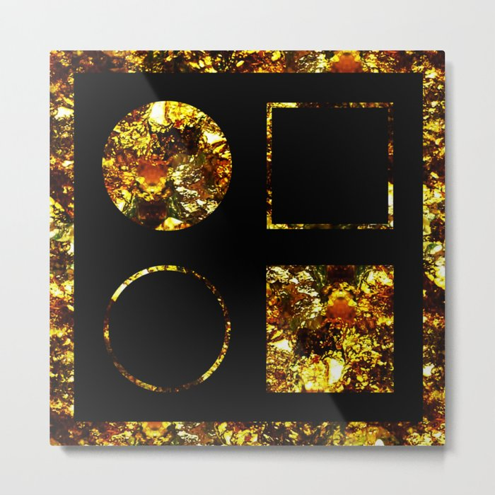 Golden Shapes Abstract Black And Gold Circles And Squares Geometric Metallic Art Metal Print By Printpix