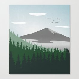 Mountain Forest Scene Canvas Print